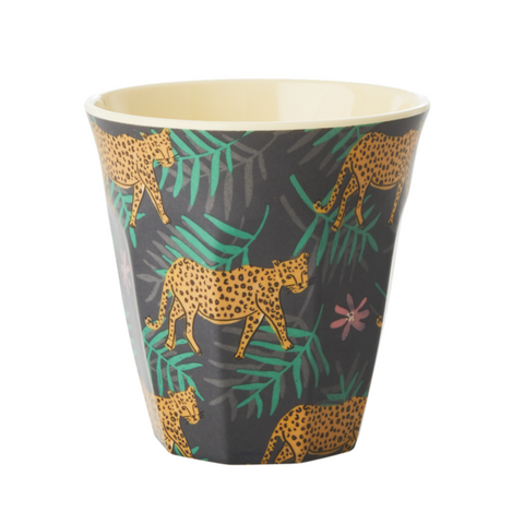 Rice DK Leopard and Leaves Print Two Tone Melamine Cup