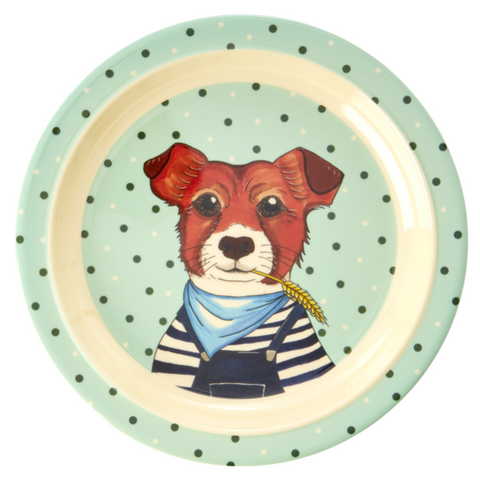 Rice Dk Melamine Kid Farm Dog Lunch Plate
