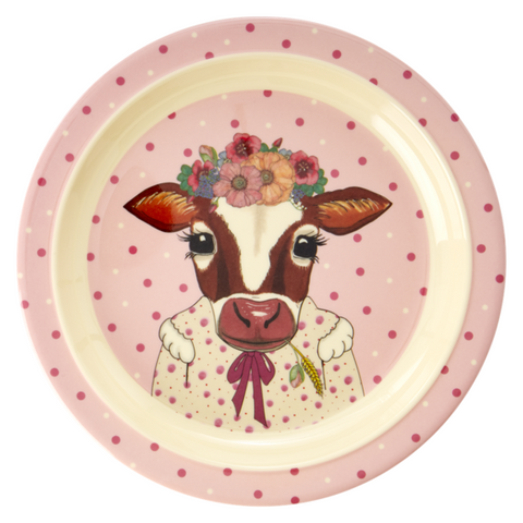 Rice Dk Melamine Kid Farm Animal Lunch Plate