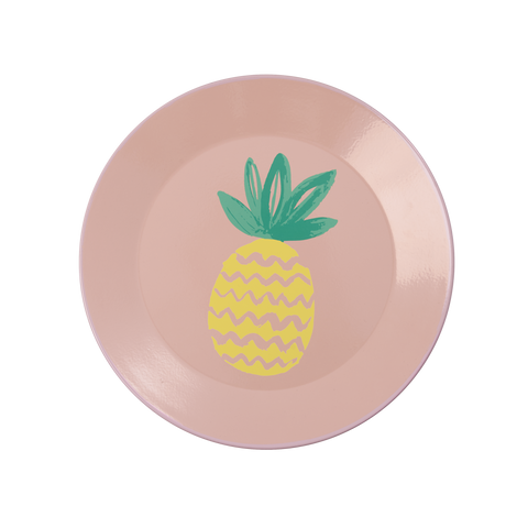 Rice DK | Coral Enamel Lunch Plate with Pineapple Print