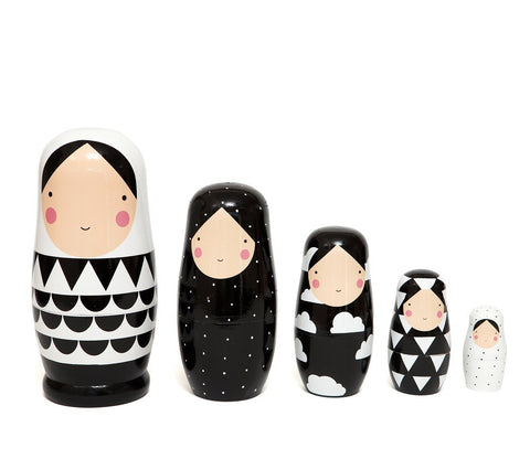 Psi | Petit Monkey Black and White Nesting Dolls