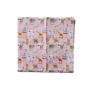 Rice Dk | 3 Soft Pink Muslin Squares in Girls Circus Print