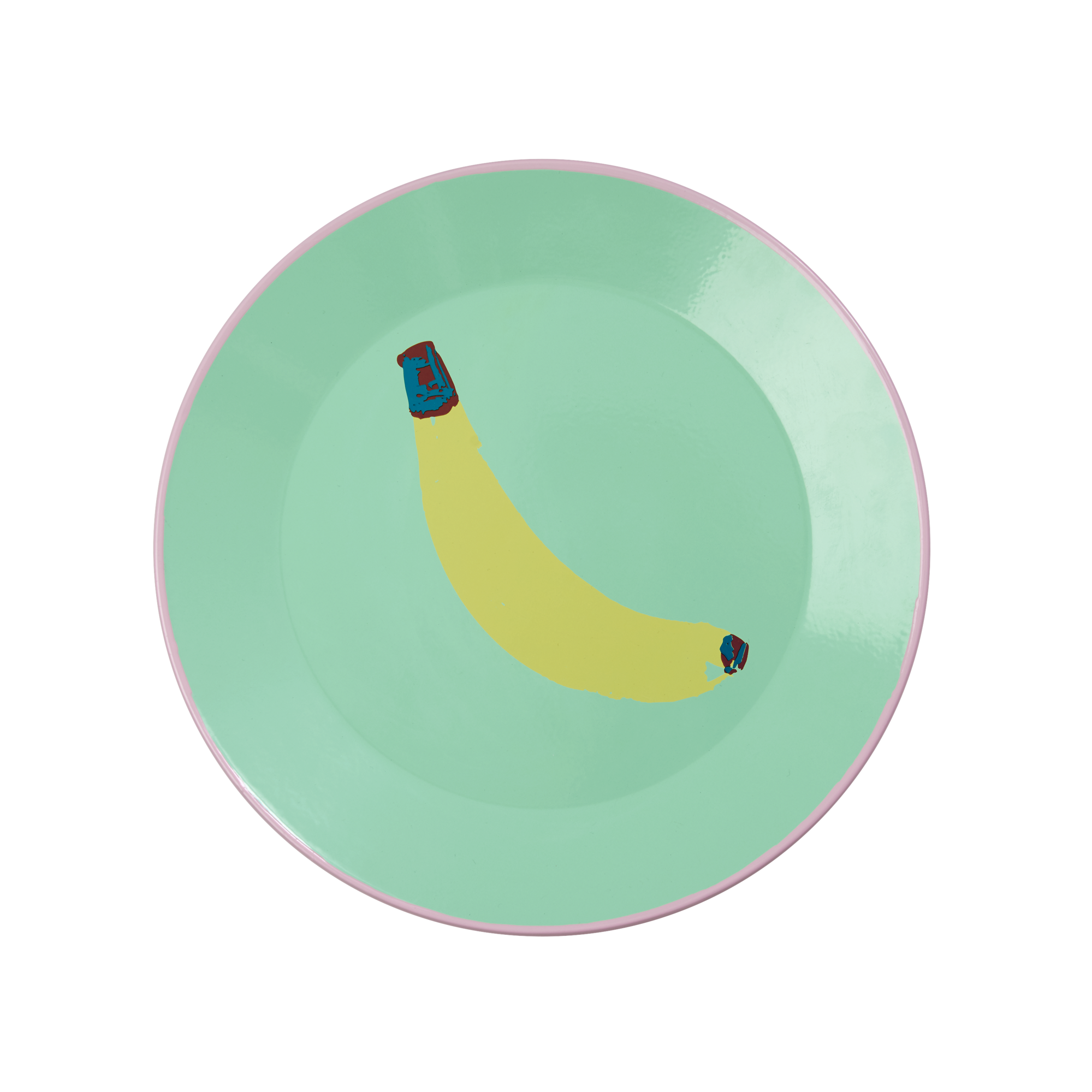 Rice DK | Pastel Green Enamel Lunch Plate with Banana Print