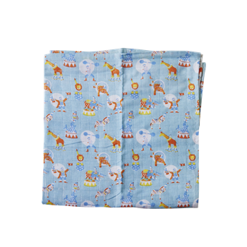 Rice Dk | 3 Soft Blue Muslin Squares with Boys Circus Print