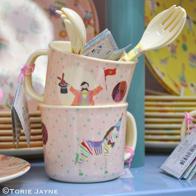 Rice DK | Kids Melamine Spoon and Fork with Girl Circus Print