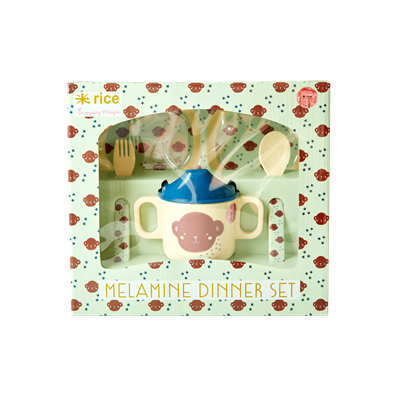 Rice DK | Melamine Baby Set Dinner Monkey Print