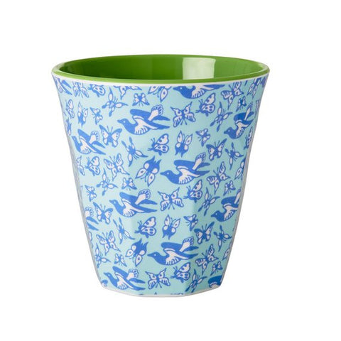 Rice DK Blue Birds and Butterflies Print Two Tone Melamine Cup