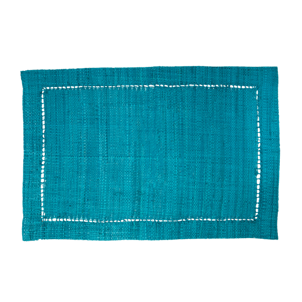 Rice Dk | Raffia Soft Blue Placemat Rectangular