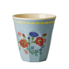 Rice DK Melamine Two-Tone Pastel Blue with Flower Print Cup