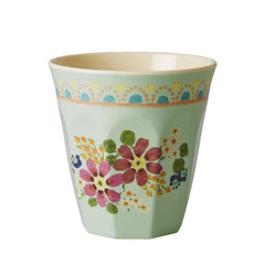 Rice DK Melamine Two-Tone Mint with Flower Print Cup