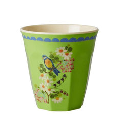 Rice DK Melamine Two-Tone Green Bird and Flower Print Cup
