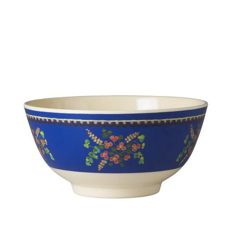 Rice DK Two-Tone Blue Flower Print Melamine Bowl