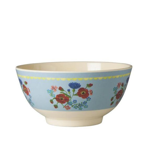 Rice DK Two-Tone Pastel Blue Flower Print Melamine Bowl
