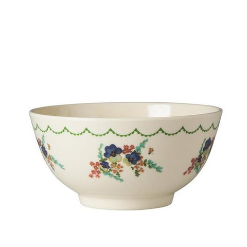 Rice DK Two-Tone Cream Flower Print Melamine Bowl