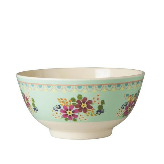 Rice DK Two-Tone Mint Flower Print Melamine Bowl