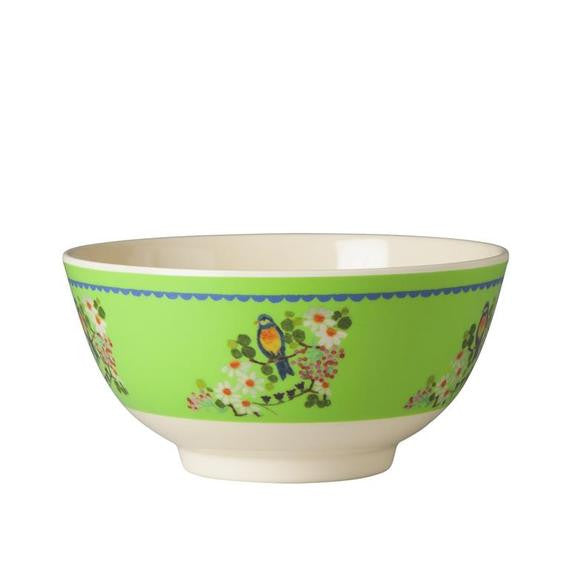 Rice DK Two-Tone Green Bird and Flower Melamine Bowl