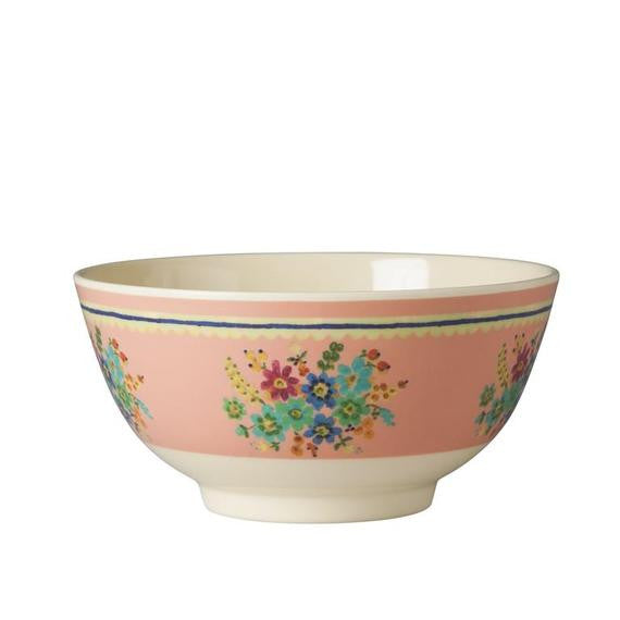 Rice DK Two-Tone Pink Flower Print Melamine Bowl