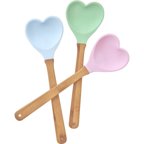 Rice DK Assorted Colors Bamboo Silicone Heart Spatula