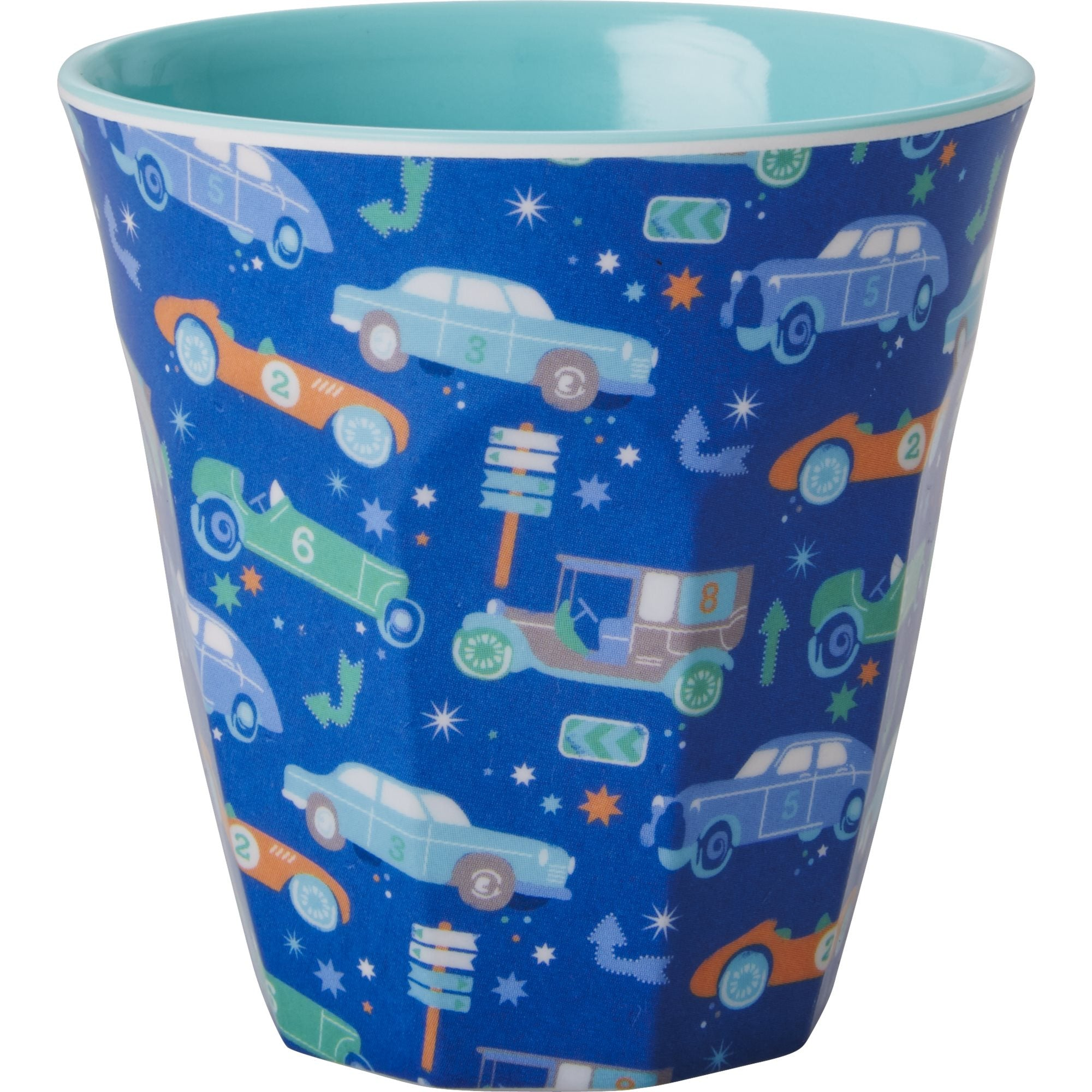 Rice DK Set of 6 Cars and Numbers Print Two Tone Melamine Cups