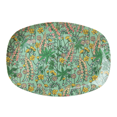 Rice DK | Two-Tone Melamine Rectangular Plate Lupin print