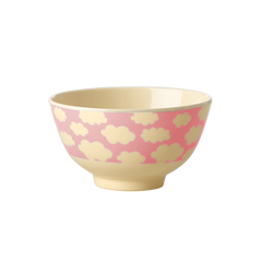 Rice DK | Small Melamine Two Tone Bowl Pink Cloud Print