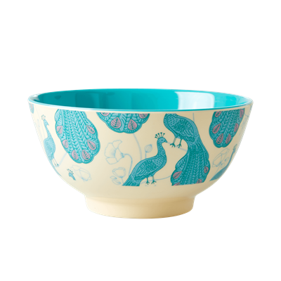 Rice DK | Two-Tone Melamine Bowl with Peacock Print