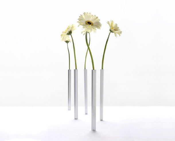 Peleg Design silver free standing Magnetic Vases | Funky home Accessory gifts