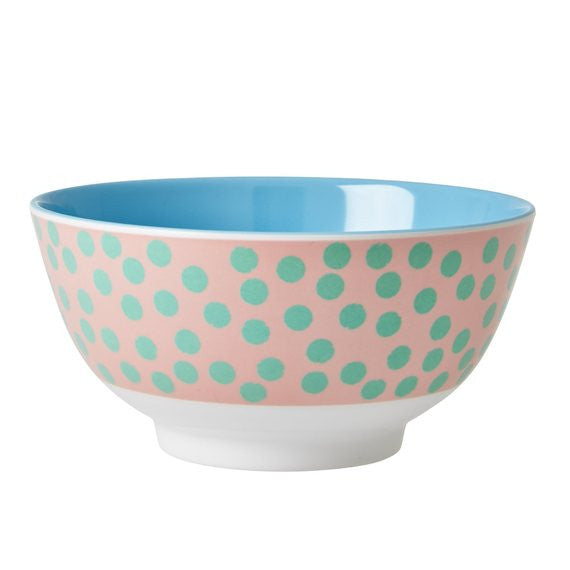 Rice DK Two-Tone Melamine Bowl with Blue Polka Dots
