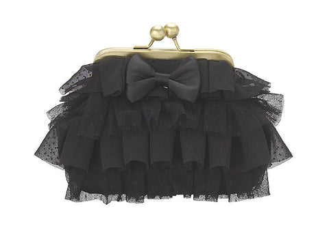 Lisbeth Dahl Black Ruffle Cosmetic Bag