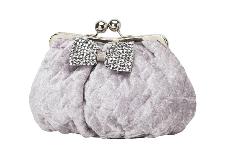 Molly Marais Small Grey Quilted Velvet Clutch
