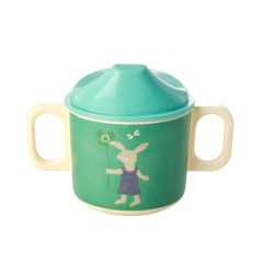 Rice DK | Baby Cup with 2 Handle Green Bunny Print