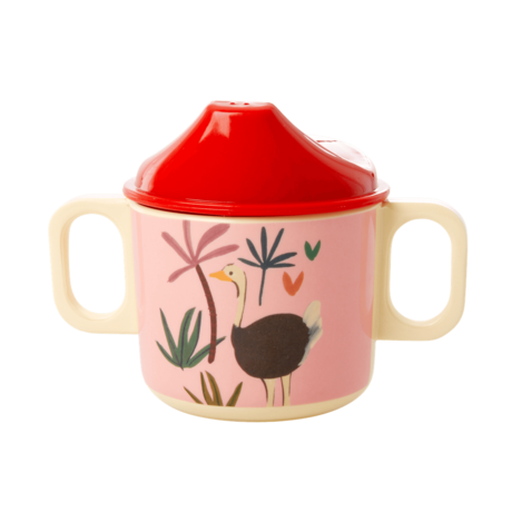 Rice DK | Baby Cup with 2 Handle Pink Jungle Animal Print