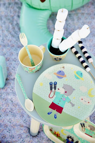 Rice DK | Kids Melamine Spoon and Fork with Girls Happy Camper Print