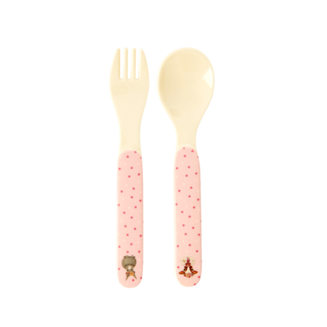 Rice DK | Kids Melamine Spoon and Fork with Pink Farm Animals Print