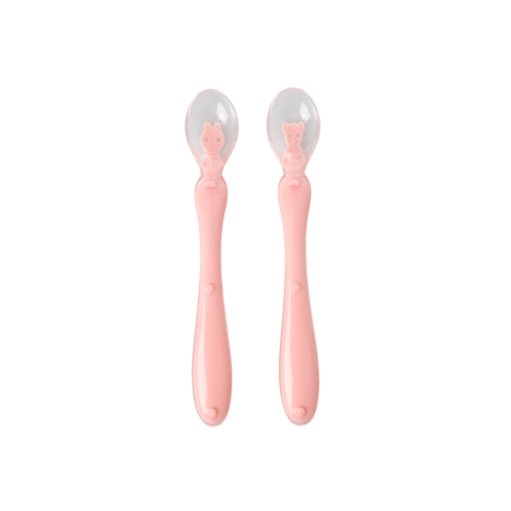 Rice DK | BABY SILICONE SPOON IN PINK - BEAR AND RABBIT DESIGN