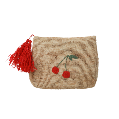Rice DK Raffia Clutch Cherry with Pom Poms