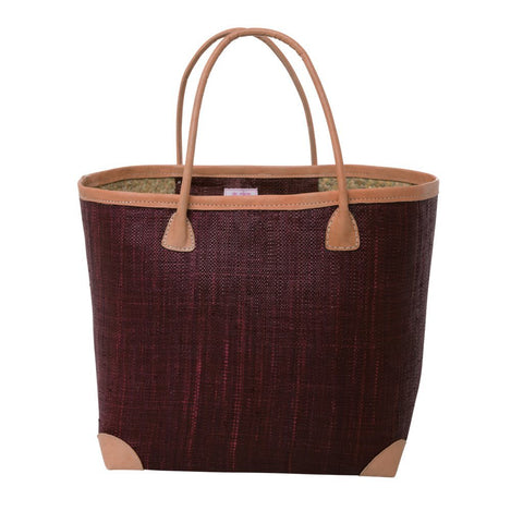 Rice DK Large Raffia Burgundy Shopping Bag with Leather Trimmings