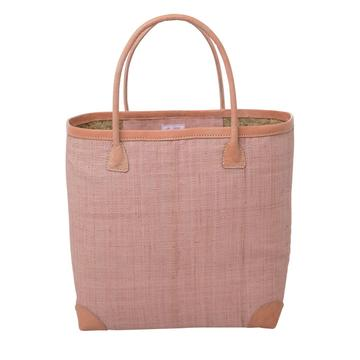 Rice DK Large Raffia Pink Shopping Bag with Leather Trimmings