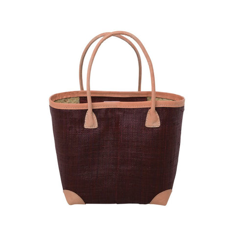 Rice DK Medium Raffia Burgundy Shopping Bag with Leather Trimmings