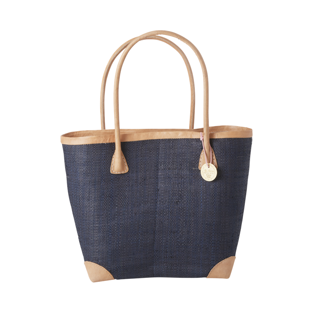 Rice DK Medium Blue Raffia Shopping Bag