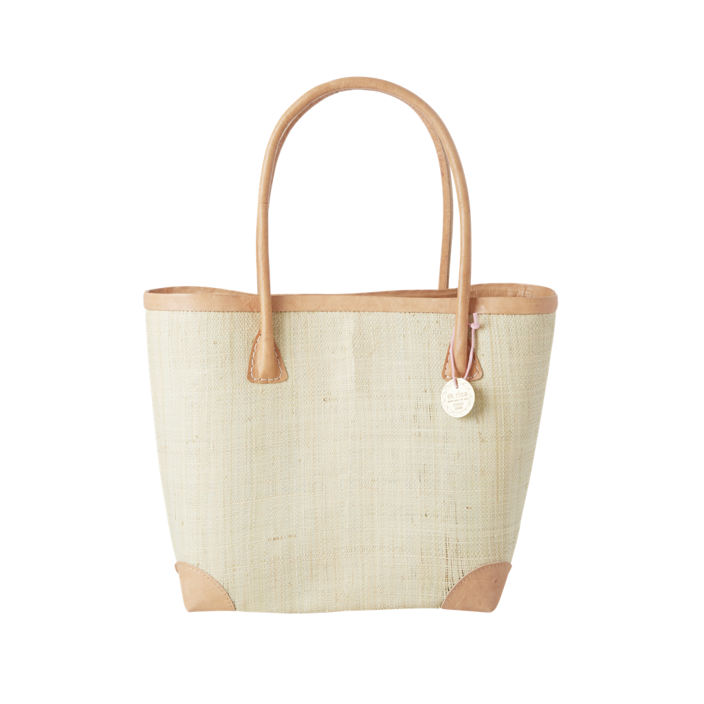 Rice DK Medium Cream Raffia Shopping Bag