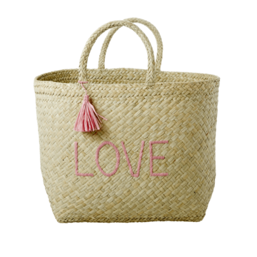 Rice Dk | Extra Large Natural Shopping Bag with 'LOVE' Embroidery and Tassle
