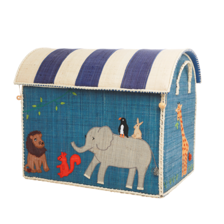 Rice DK Handmade Embroidered Large Raffia Toy Basket Animal - - TO BE DELIVERED BY EARLY TO MID JULY