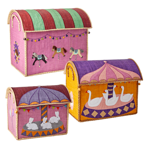 Rice DK Raffia Medium Storage Basket Carousel