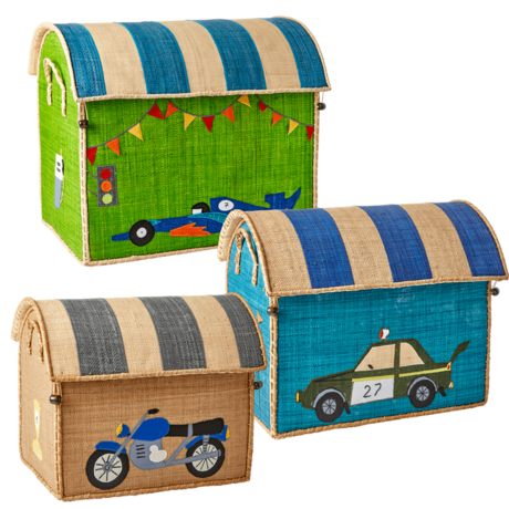 Rice DK Raffia Set of 3 Toy Baskets Race Car