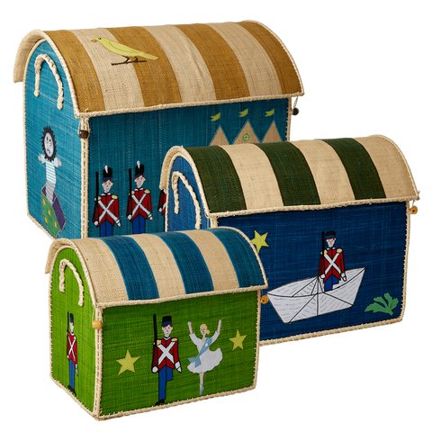 Rice DK Raffia Set of 3 Toy Basket Tin Soldier TO BE DELIVERED BY EARLY TO MID JULY