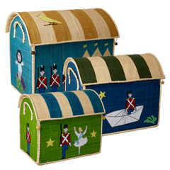 Rice DK Raffia Set of 3 Toy Basket Tin Soldier