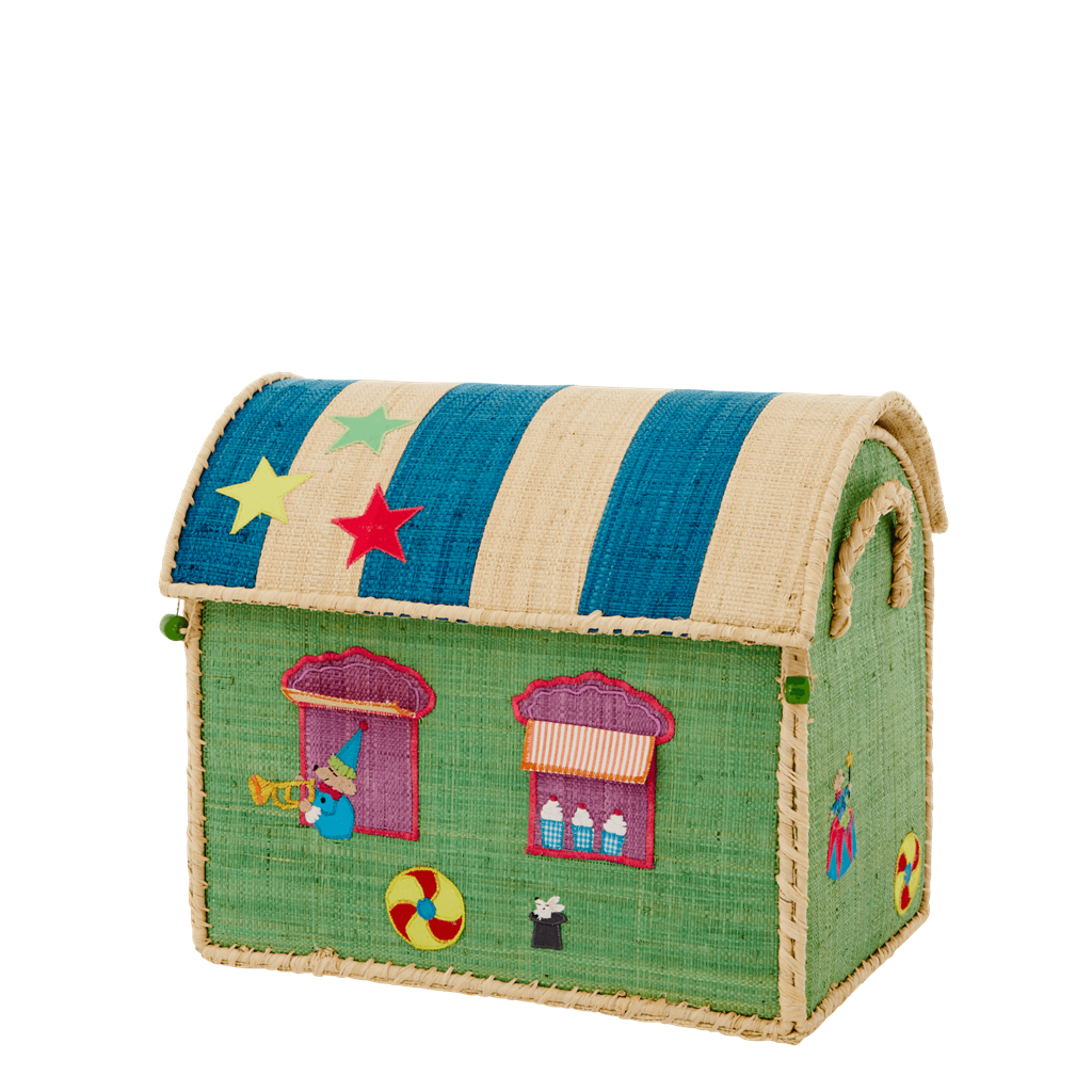 Rice DK Handmade Embroidered Small Raffia Toy Basket Circus
