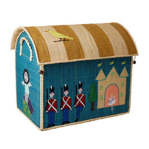 Rice DK Raffia Large Toy Basket Tin Soldier TO BE DELIVERED BY EARLY TO MID JULY