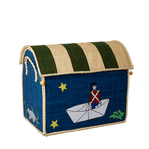 Rice DK Raffia Medium Toy Basket Tin Soldier - TO BE DELIVERED BY EARLY TO MID JULY